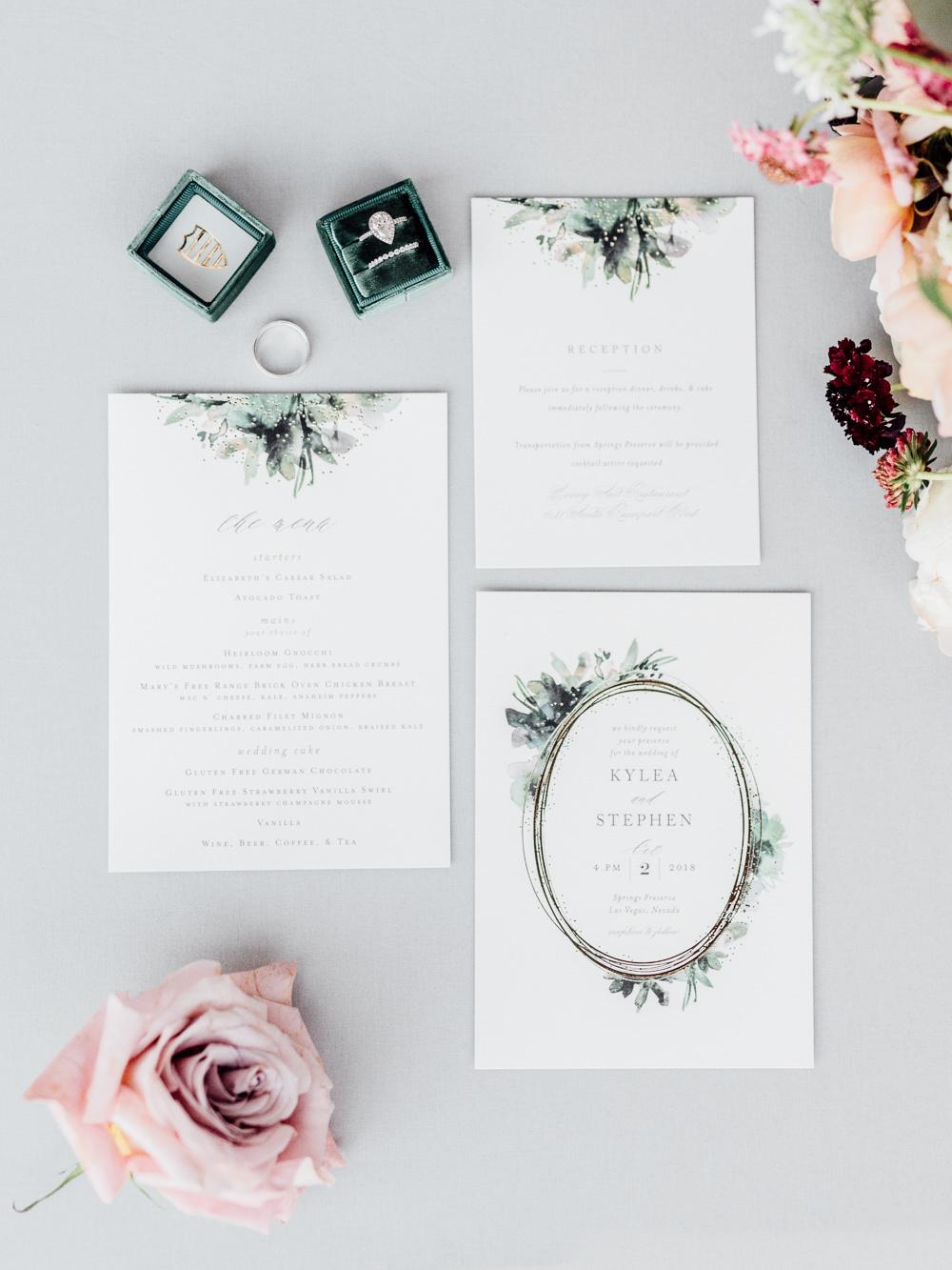 Botanical Greenery Stationery Invitations Flat Lay Romantic Soft Elopement Wedding Las Vegas Kristen Joy Photography