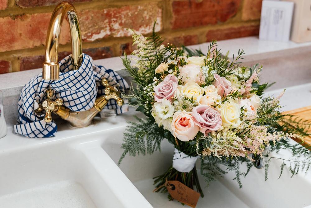 Bride Bridal Bouquet Pink Peach Yellow Rose Fern Secret Garden Wymington Wedding Aaron Collett Photography