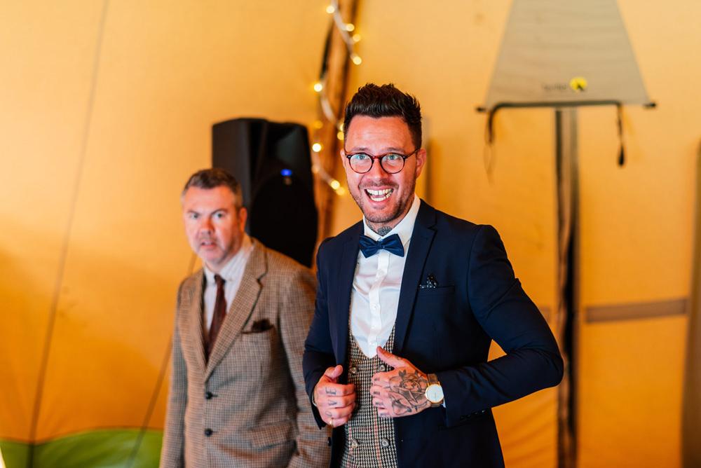 Three Piece Suit Groom Waistcoat Bow Tie Houndstooth Tweed Secret Garden Wymington Wedding Aaron Collett Photography