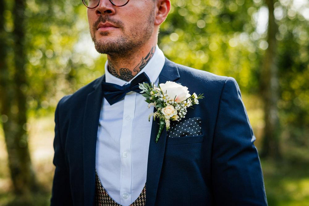 Groom Three Piece Suit Waistcoat Bow Tie Polka Dot Pocket Square Secret Garden Wymington Wedding Aaron Collett Photography