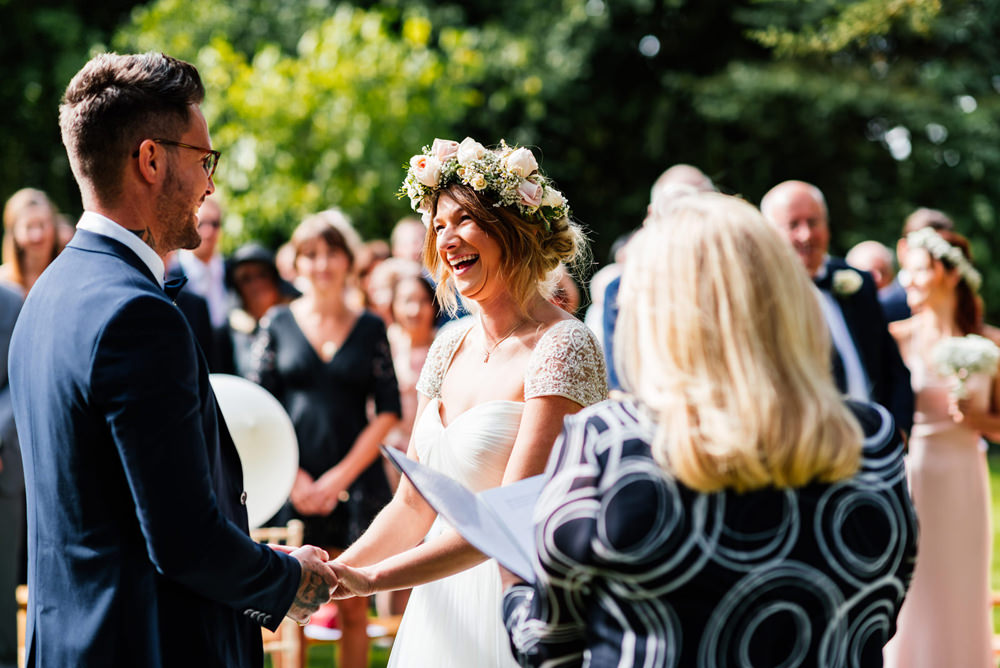 Bride Bridal Cap Sleeve Sweetheart Neckline Oversized Flower Crown Three Piece Waistcoat Groom Secret Garden Wymington Wedding Aaron Collett Photography