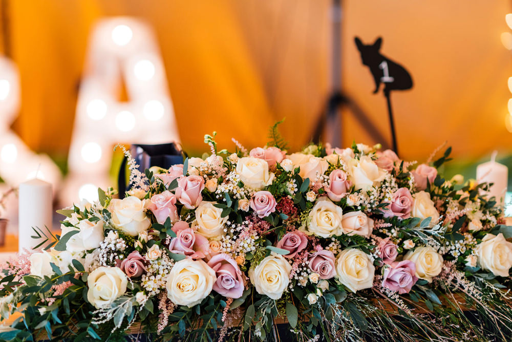 Top Table Floral Flowers Runner Pink Ivory Cream Rose Foliage Secret Garden Wymington Wedding Aaron Collett Photography