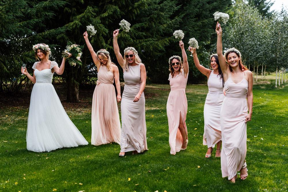 Bride Bridal Cap Sleeve Sweetheart Neckline Oversized Flower Crown Pink Blush Mismatched Bridesmaids Gypsophila Secret Garden Wymington Wedding Aaron Collett Photography