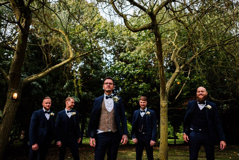 Groom Groomsmen Three Piece Suit Houndstooth Waistcoat Bow Tie Secret Garden Wymington Wedding Aaron Collett Photography