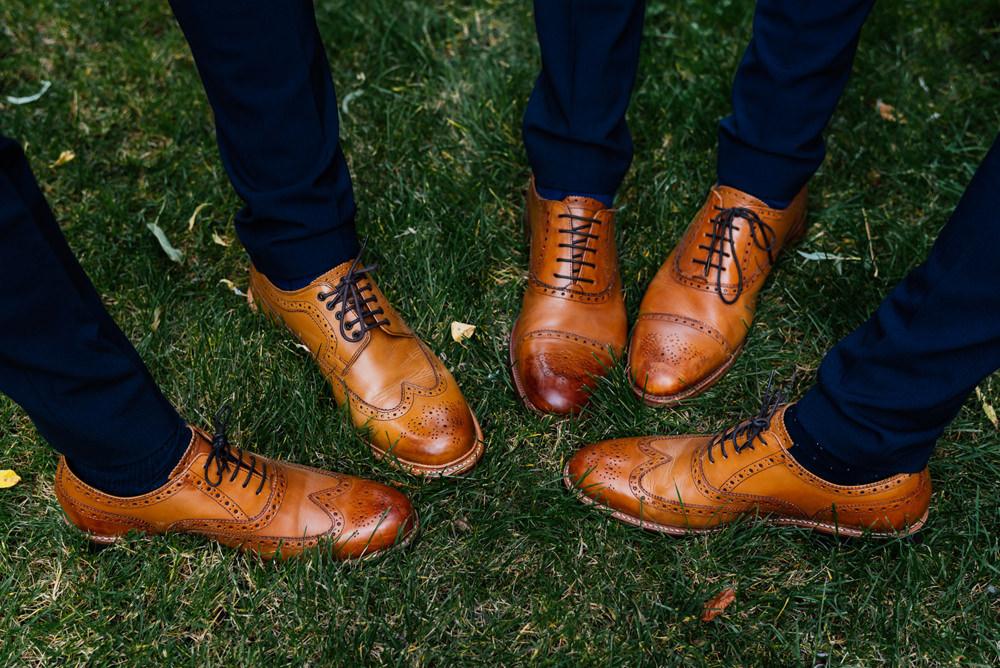 Groom Groomsmen Tan Brogues Secret Garden Wymington Wedding Aaron Collett Photography