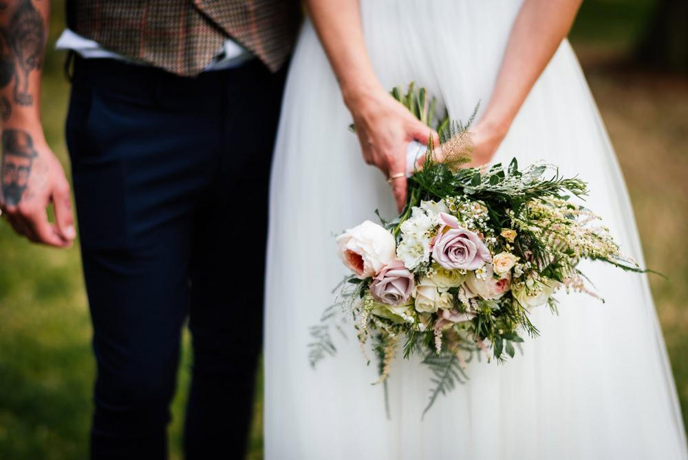 Bride Bridal Bouquet Pink Cream Fern Secret Garden Wymington Wedding Aaron Collett Photography