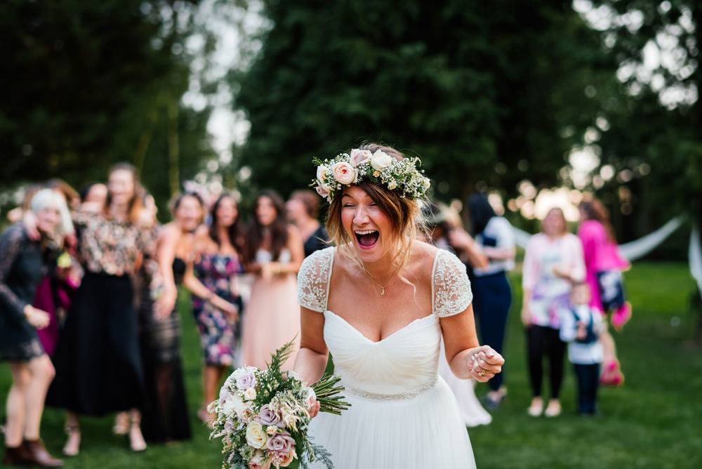 Bride Bridal Cap Sleeve Sweetheart Neckline Oversized Flower Crown Secret Garden Wymington Wedding Aaron Collett Photography