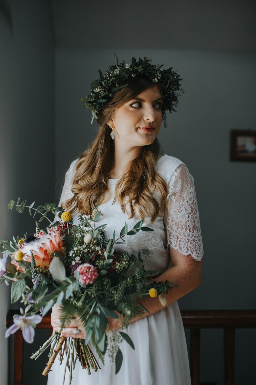 Bride Bridal Flower Crown Shiningford Manor Wedding Magda K Photography