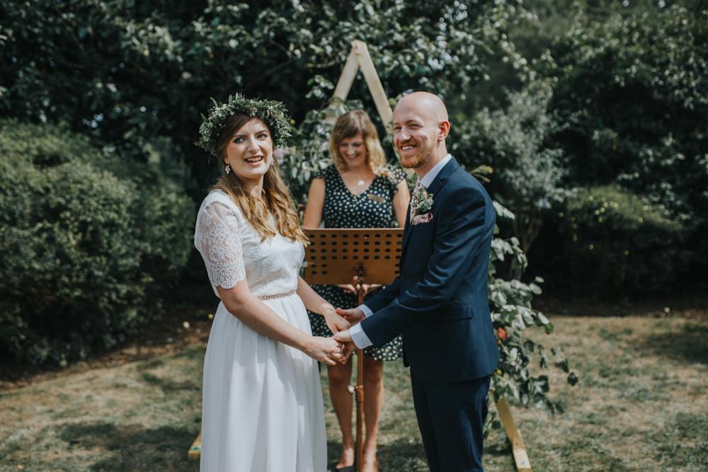 Backdrop Ceremony Arch Wooden Triangle Greenery Foliage Shiningford Manor Wedding Magda K Photography