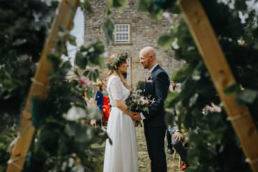 Backdrop Ceremony Arch Wooden Triangle Greenery Foliage Shiningford Manor Wedding Magda K Photography