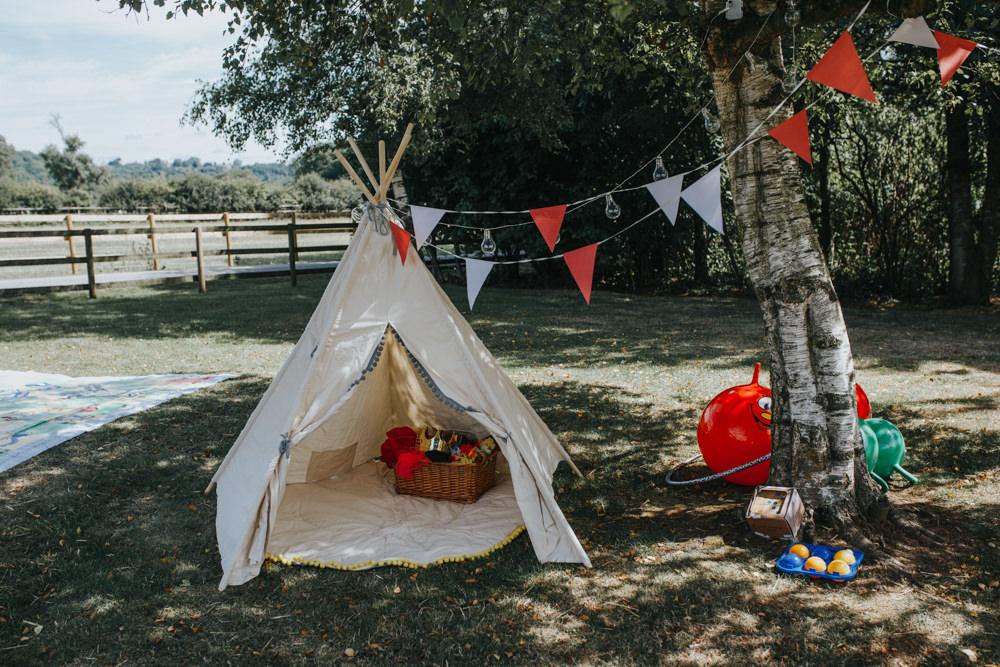 Tipi Tent Kids Children Area Shiningford Manor Wedding Magda K Photography