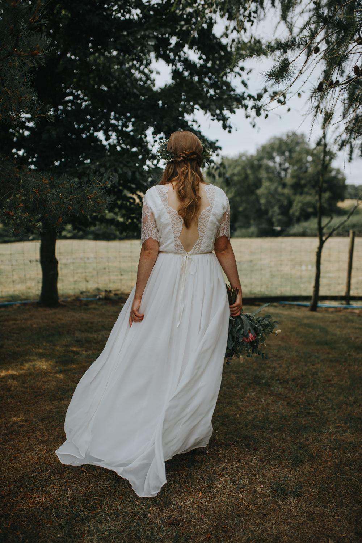 Bride Bridal Dress Gown Sleeves Lace Skirt Shiningford Manor Wedding Magda K Photography