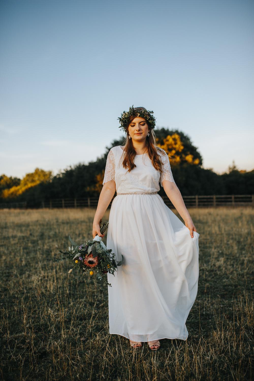 Bride Bridal Dress Gown Sleeves Lace Skirt Belt Shiningford Manor Wedding Magda K Photography
