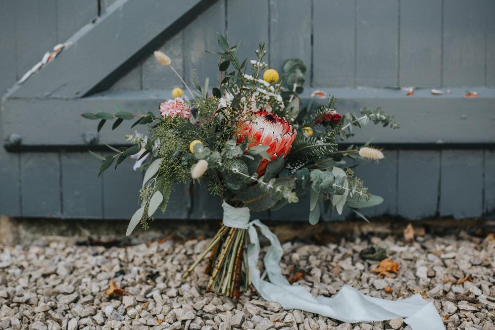 Bouquet Flowers Bride Bridal Greenery Foliage Protea Ribbon Shiningford Manor Wedding Magda K Photography
