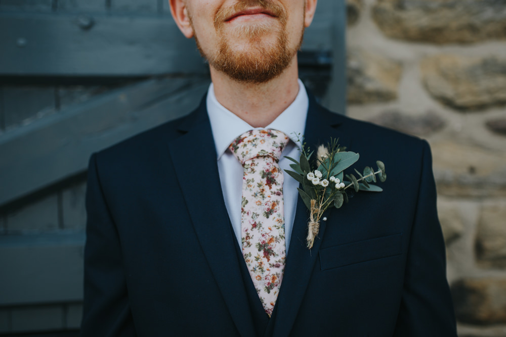 Groom Floral Tie Buttonhole Fowers Shiningford Manor Wedding Magda K Photography