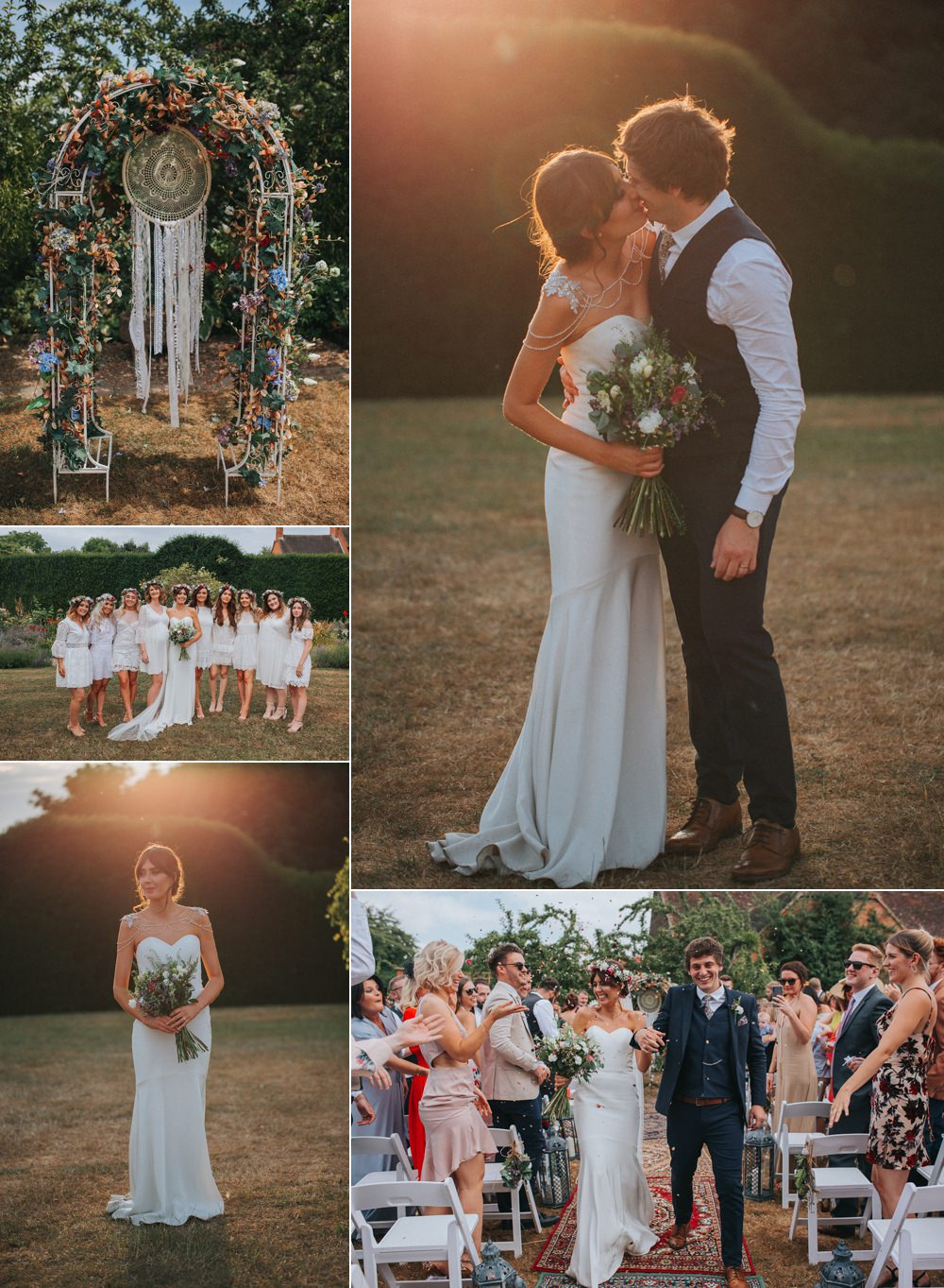 Summer Boho Outdoor Wedding with A Persian Rug Aisle & Dreamcatchers A Little Picture