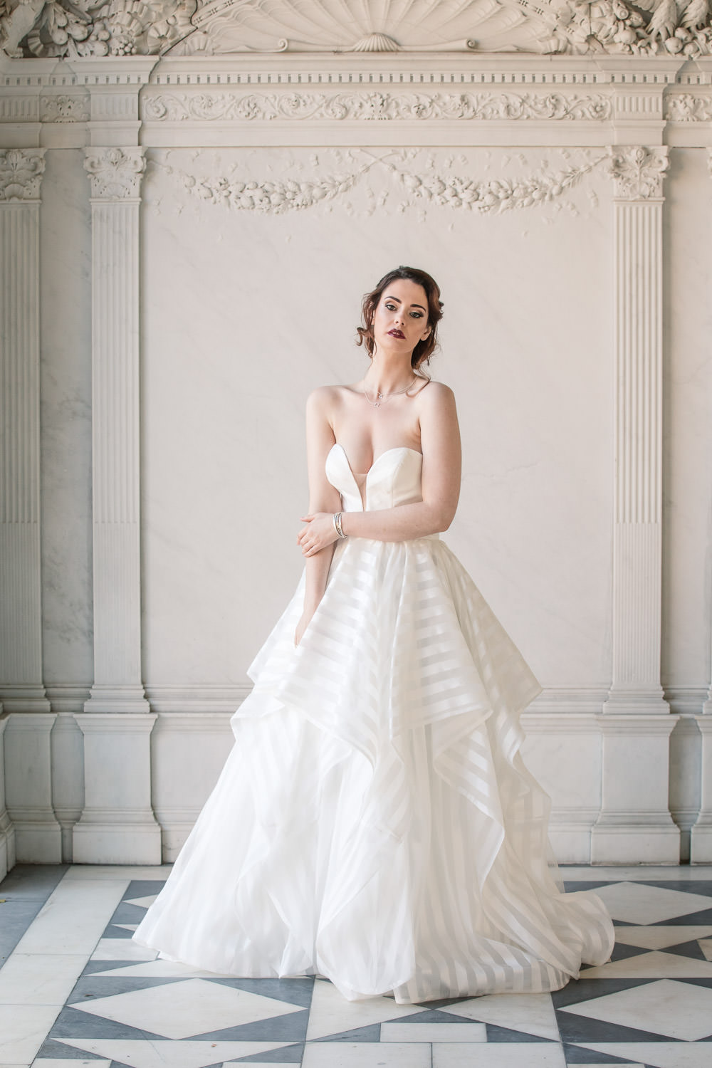 Dress Gown Bride Bridal Stripe Pockets Plunging Neckline Ruffle Layer Skirt Winter Luxe Wedding Ideas Becky Harley Photography