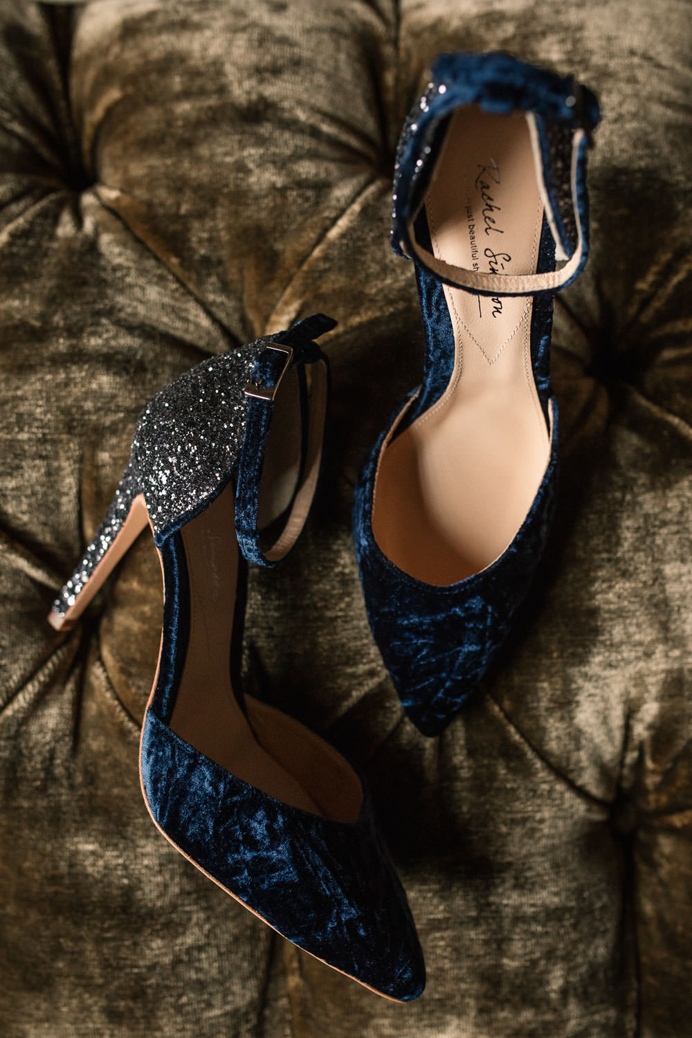 Navy Blue Shoes Bride Bridal Vevlet Glitter Winter Luxe Wedding Ideas Becky Harley Photography