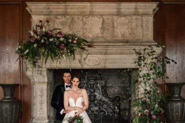 Winter Luxe Wedding Ideas with Red Velvet & a Fireplace Flower Installation