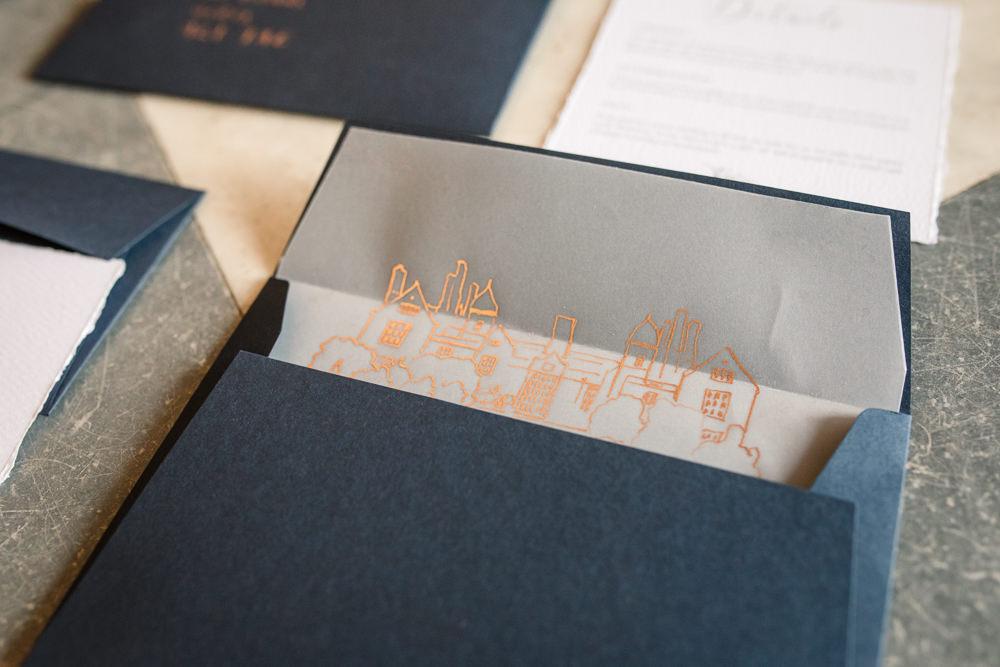 Stationery Invites Invitations Velvet Ribbon Calligraphy Glassine Gold Envelope Blue Insert Winter Luxe Wedding Ideas Becky Harley Photography
