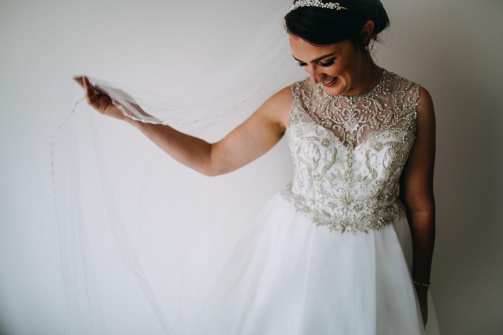 Princess Bride Bridal Dress Gown Alfred Angelo Veil Embellished Bawdon Lodge Farm Wedding Hannah Hall Photography