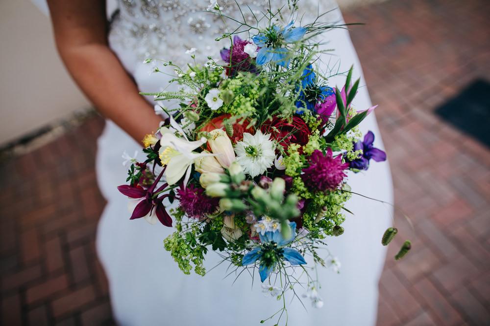 Bride Bridal Flowers Bouquet Wild Pretty Bawdon Lodge Farm Wedding Hannah Hall Photography