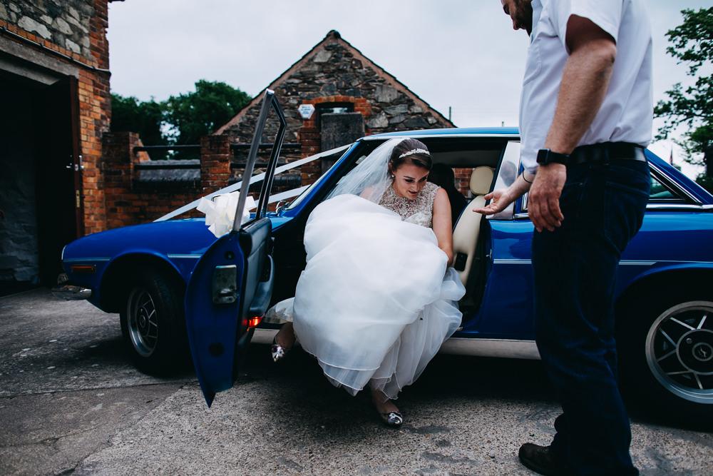 Blue Car Transport Bawdon Lodge Farm Wedding Hannah Hall Photography