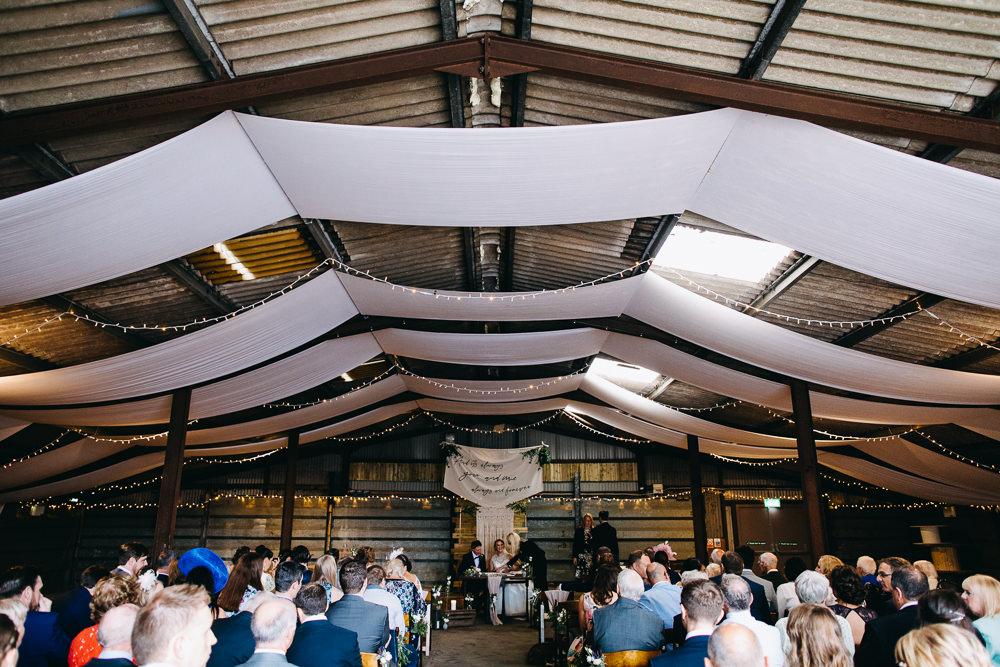 Ceremony Barn Drapes Fairy Lights Bawdon Lodge Farm Wedding Hannah Hall Photography
