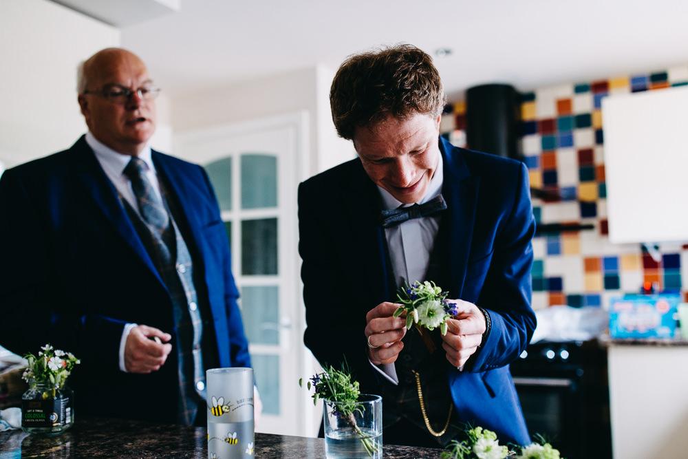 Groom Suit Navy Blue Bow Tie Bawdon Lodge Farm Wedding Hannah Hall Photography