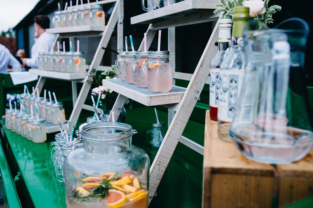 Drinks Stand Station Bar Wooden Ladder Shelf Bottles Jars Bawdon Lodge Farm Wedding Hannah Hall Photography