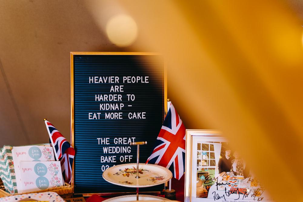 Cake Table Bake Off Sign Bawdon Lodge Farm Wedding Hannah Hall Photography