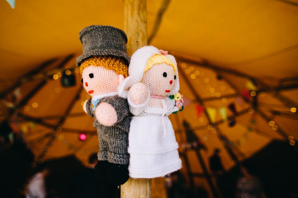 Knitted Bride Groom Decor Bawdon Lodge Farm Wedding Hannah Hall Photography