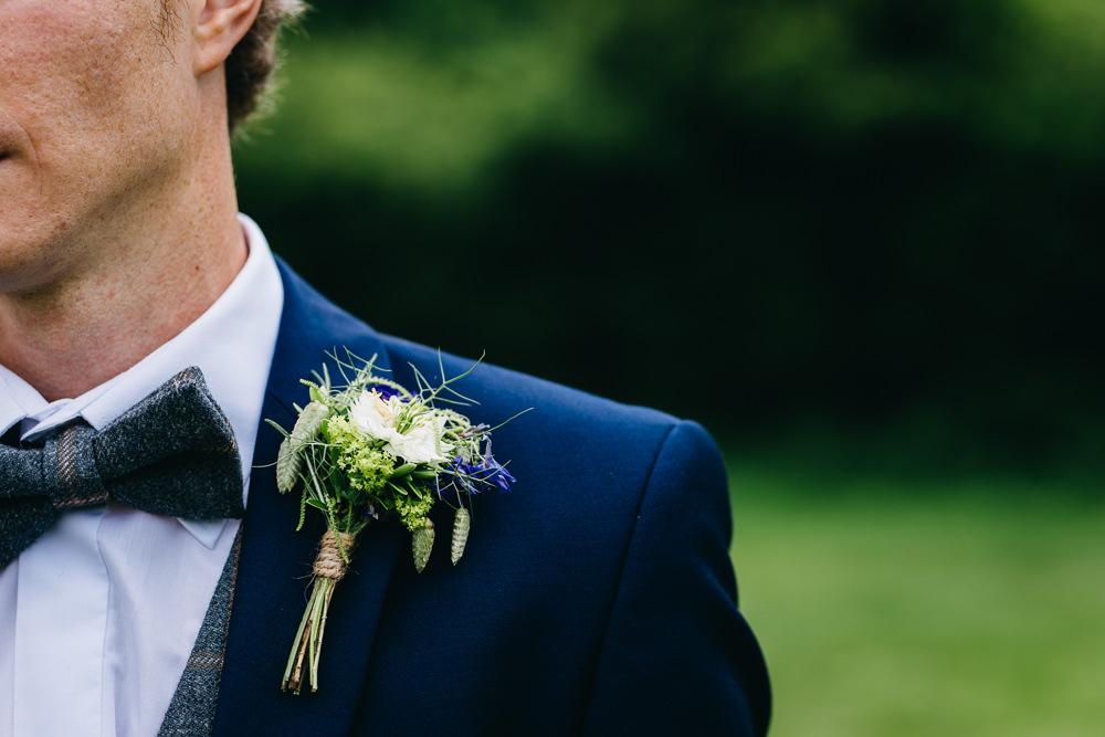 Rustic Buttonhole Groom Flowers Twine Bawdon Lodge Farm Wedding Hannah Hall Photography