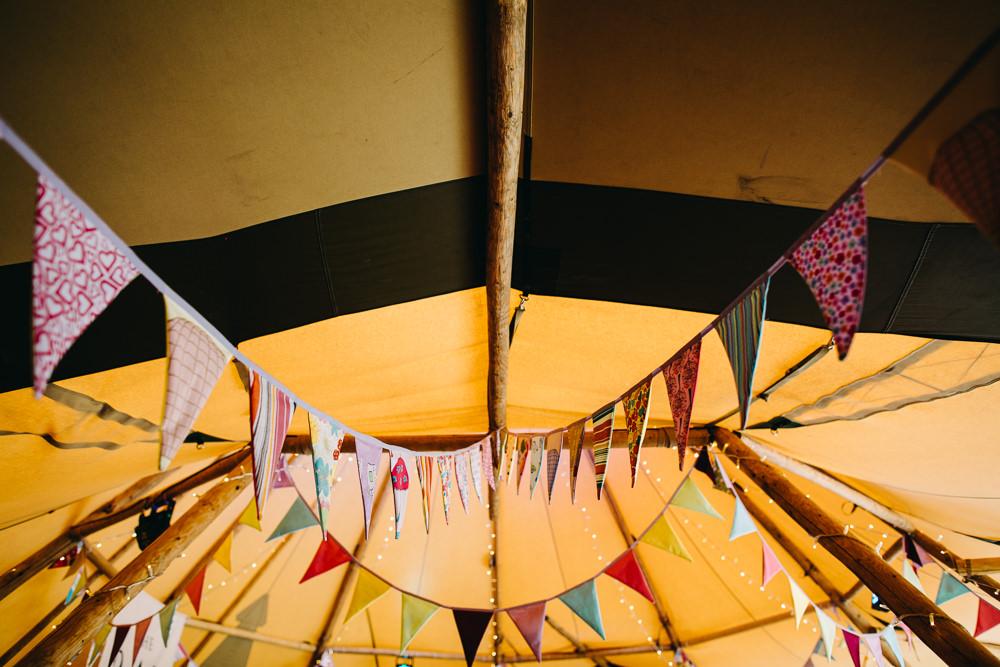 Tipi Bunting Bawdon Lodge Farm Wedding Hannah Hall Photography