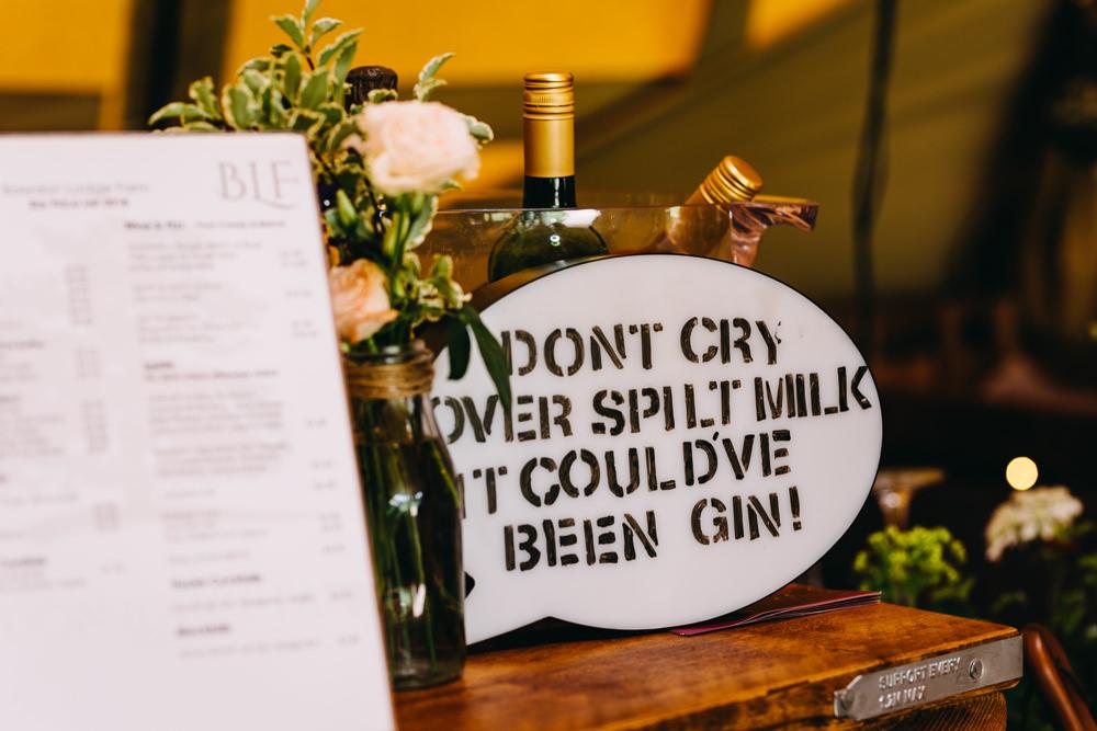 Drinks Sign Bar Bawdon Lodge Farm Wedding Hannah Hall Photography