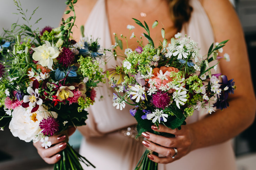 Bridesmaids Bouquets Flowers Posy Pretty Daisy Wildflowers Bawdon Lodge Farm Wedding Hannah Hall Photography