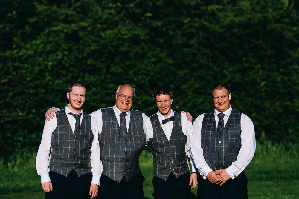 Groom Suit Bow Tie Groomsmen Waistcoat Bawdon Lodge Farm Wedding Hannah Hall Photography