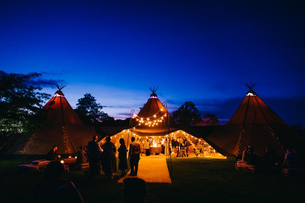 Tipi Evening Lighting Lights Fairy Lights Bawdon Lodge Farm Wedding Hannah Hall Photography