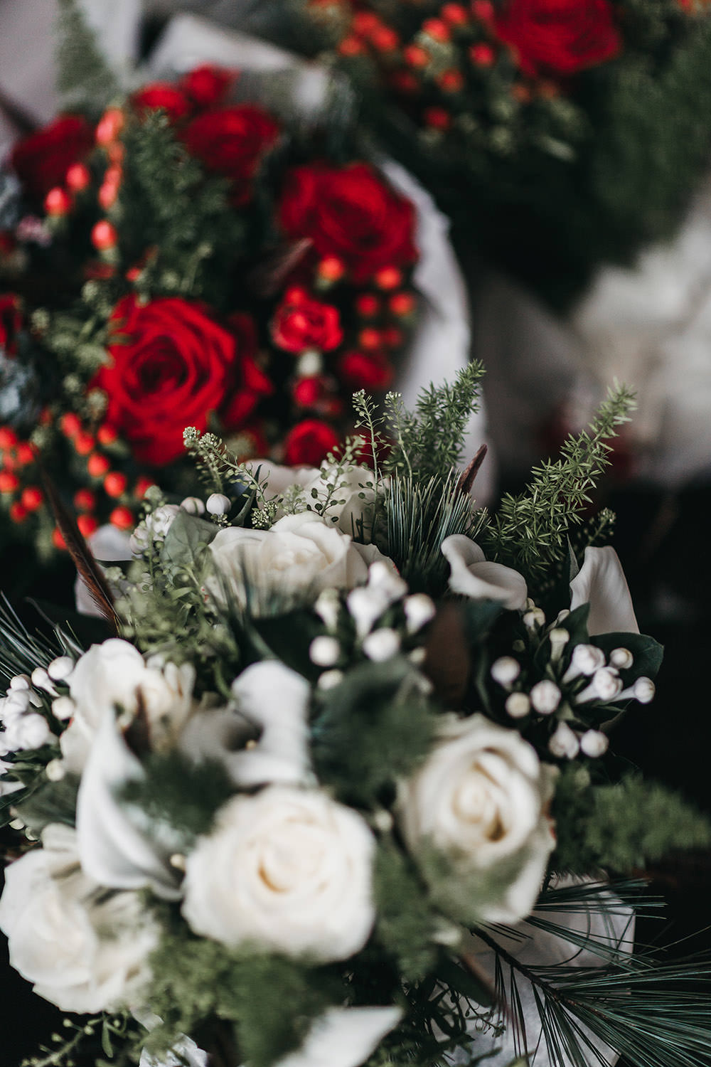 Bride Bridal White Rose Snowdrop Red Bouquet Big Barn Wedding Ashley The Vedrines Photography