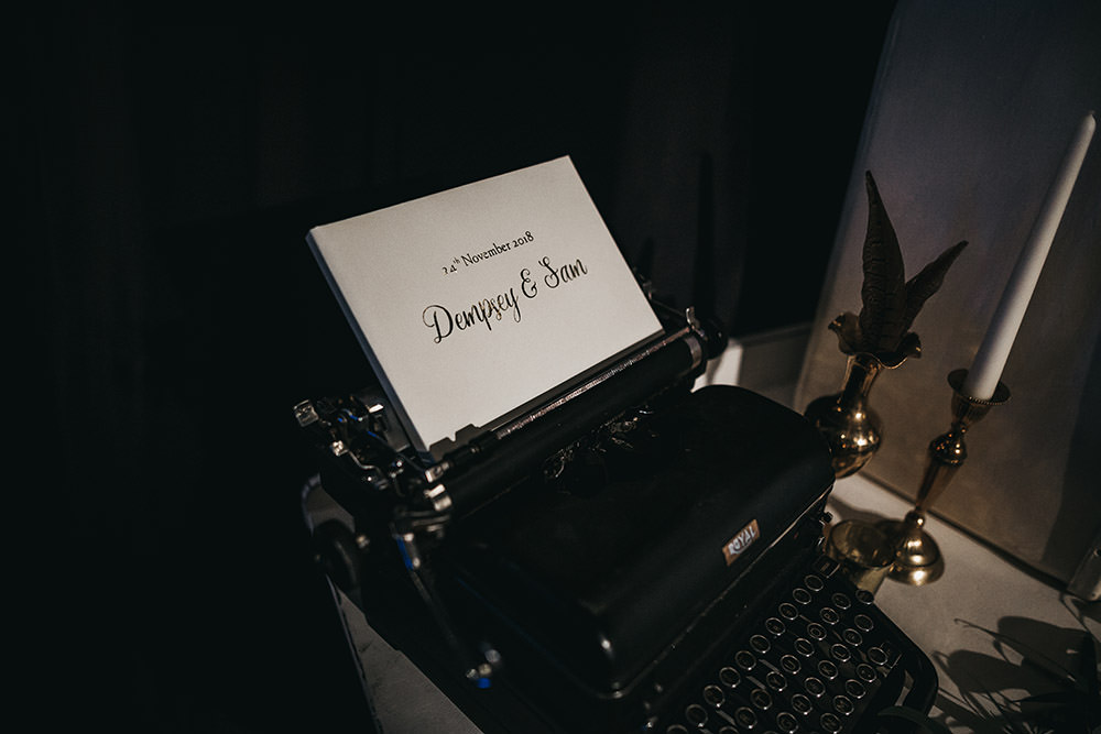 Typewriter Guest Book Brass Candlestick Big Barn Wedding Ashley The Vedrines Photography