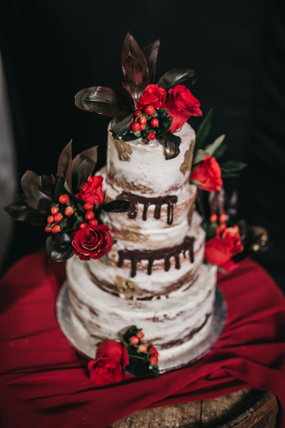 Semi Naked Drop Cake Red Rose Berries Big Barn Wedding Ashley The Vedrines Photography