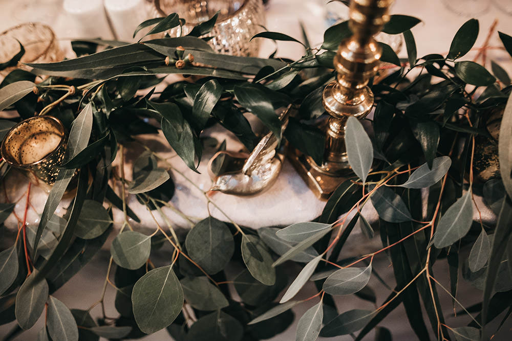 Greenery Eucalyptus Table Runner Brass Candlestick Big Barn Wedding Ashley The Vedrines Photography