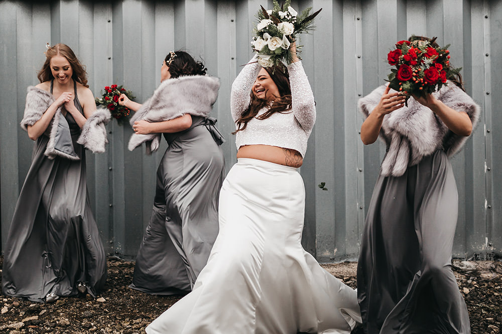 Bride Bridal Separates Sparkly Long Sleeve Fish Tail Button Back Veil Grey Multiway Bridesmaids Faux Fur Wrap White Red Rose Bouquet Big Barn Wedding Ashley The Vedrines Photography