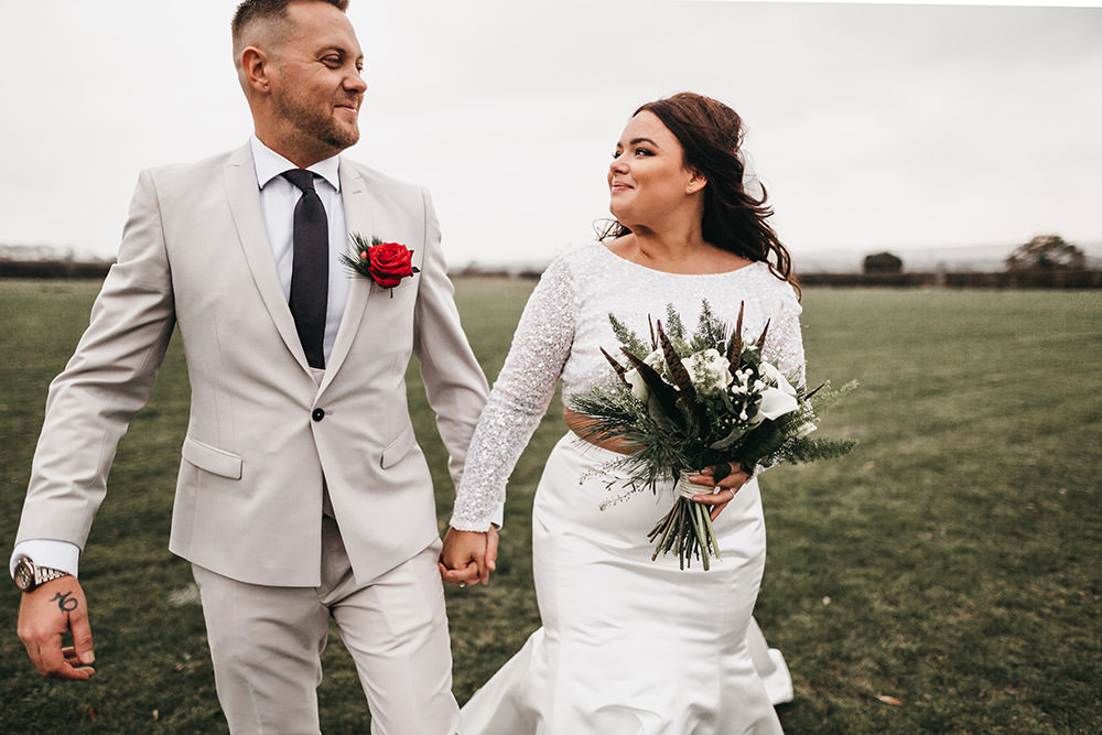 Bride Bridal Separates Sparkly Long Sleeve Fish Tail Button Back Groom Cream Waistcoat Suit Veil Pheasant Feather Bouquet Big Barn Wedding Ashley The Vedrines Photography