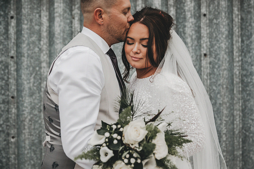 Bride Bridal Separates Sparkly Long Sleeve Fish Tail Button Back Groom Cream Waistcoat Suit Veil White Bouquet Pheasant Feather Bouquet Big Barn Wedding Ashley The Vedrines Photography