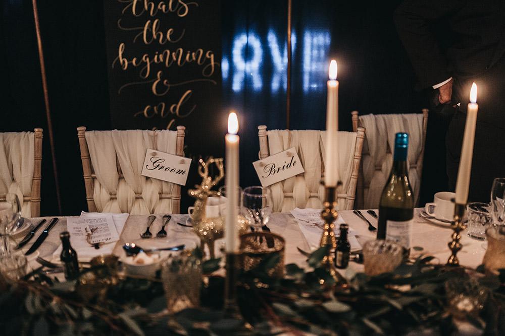 Chiffon Braid Back Chair Greenery Brass Candlesticks Big Barn Wedding Ashley The Vedrines Photography
