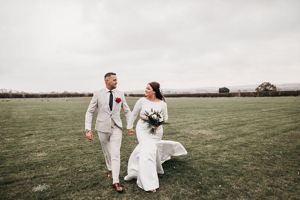 Bride Bridal Separates Sparkly Long Sleeve Fish Tail Button Back Groom Cream Waistcoat Suit Veil Big Barn Wedding Ashley The Vedrines Photography