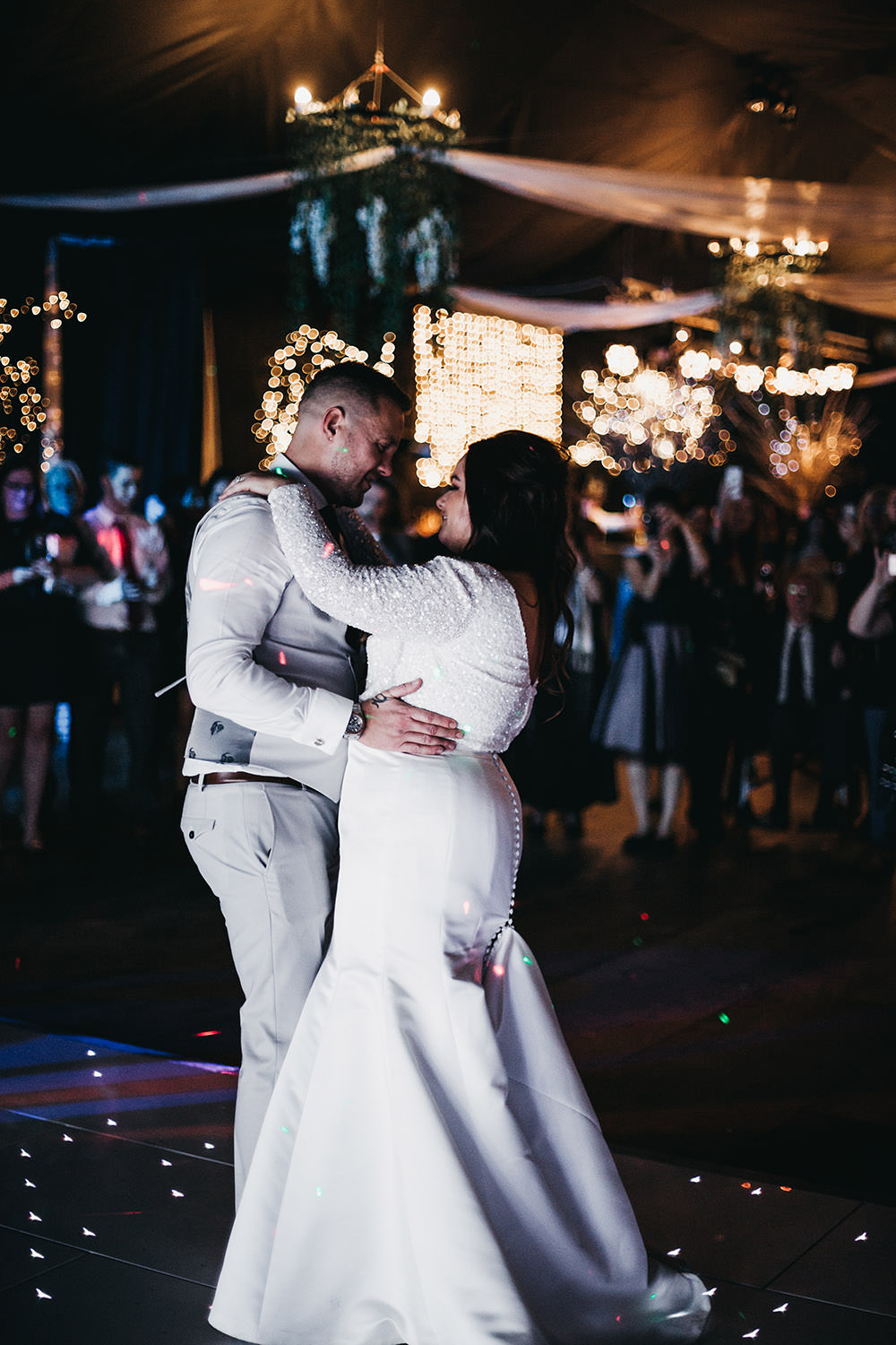Bride Bridal Separates Sparkly Long Sleeve Fish Tail Button Back Groom Cream Waistcoat Suit Big Barn Wedding Ashley The Vedrines Photography