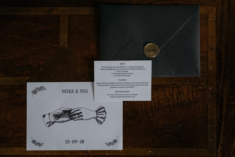 Stationery Invites Invitations Illustrated Black Envelope Gold Wax Seal Bodnant Welsh Food Wedding Elaine Williams Photography