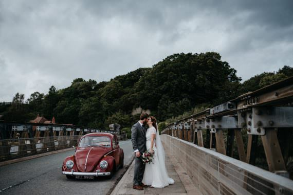 Red Beetle VW Car Transport Bodnant Welsh Food Wedding Elaine Williams Photography